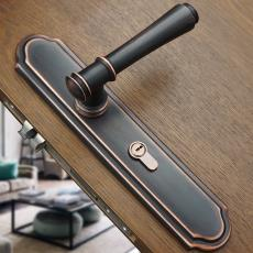 美式黑色门锁室内欧式卧室门把手静音房门锁实木门锁通用型三件套