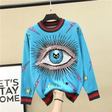 藍盈盈同款大眼睛閃電星星提花圖案毛衣女長袖套頭拼色條紋針織衫