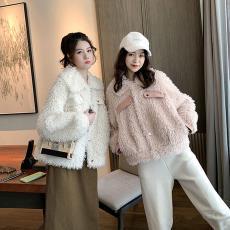 法式少女百搭仿羊羔毛外套女2019新款秋冬季皮毛一體寬松毛絨夾克
