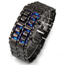 厂家现货熔岩钢带LED手表创意学生黑银红蓝led灯男款金属合金手表