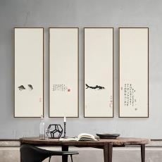 装饰新中式书房禅意餐厅水墨画茶楼双联挂画客厅八大山人玄关壁画