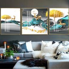 山水抽象沙发背景墙客厅三联画新中式水墨山水画 厂家直销装饰画