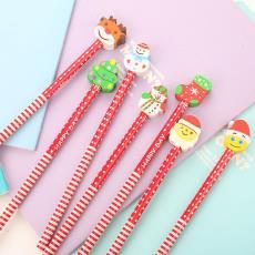 圣誕禮品廠家直銷批發 創意文具兒童學習用品卡通圣誕橡皮套鉛筆