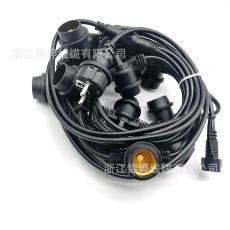 歐洲安全防水E26燈串線國標燈串美式戶外防水裝飾E27燈串電纜線