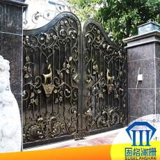 別墅防腐金屬門 不生銹鐵門 固格瀾柵 歐式庭院鐵藝平開大門