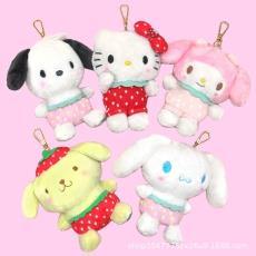 ins日本三丽欧爆款草莓装系列帕恰狗美乐蒂玩偶毛绒玩具公仔挂扣