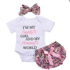 童装新款字母印花婴儿哈衣爬服三角裤头巾三件套一件代发
