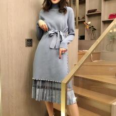 新款抖音孙小姐针织侧开衩毛衣连衣裙丝绒网纱套装7022#