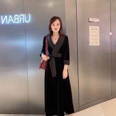 欧韩时尚2019秋品牌折扣正品欧美大牌进口韩国绒连衣裙9987