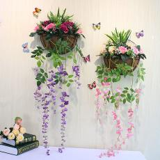 仿真花植物家居花艺套装墙上壁挂挂饰花篮柳编阳台墙面壁饰安徽省