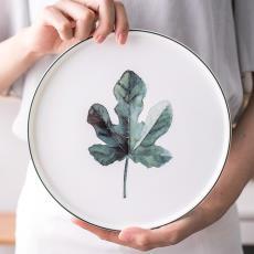 骨瓷早餐盘牛排盘西餐点心盘子 绿色植物托盘 9寸