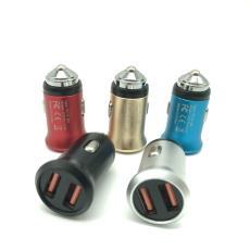 新款迷你铝合金 手机车载充电器双USB 全金属足2.4A车充12V-24V