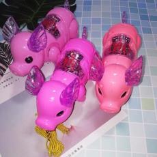 發光音樂牽繩豬抖音網紅可愛走路電動豬義烏夜市地攤發光玩具批發