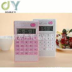 水晶鉆粉色貼鉆計算器 語音報號鑲鉆卡通大號電池驅動薄直板型