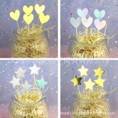 光面鐳射星星愛心五角星蛋糕插牌插簽插卡甜品臺布置 5只裝