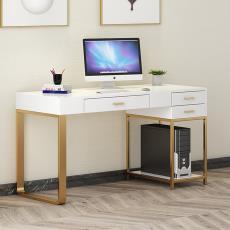 簡約現代輕奢白色電腦桌辦公室職員辦公書桌工作室單人寫字臺批發