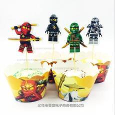 幻影忍者派對紙杯蛋糕圍邊插牌插簽卡通裝飾 蛋糕圍邊插牌套裝