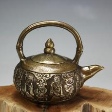 仿古古玩優質黃銅八仙銅壺水壺茶壺擺件案頭清玩 銅器收藏