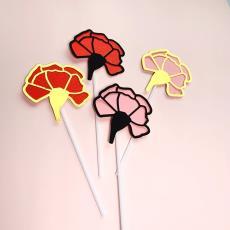 金色花朵插牌插件 烘焙蛋糕裝飾 粉色 康乃馨母親節復古紅色