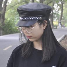 绵羊皮链条学生帽平顶帽 真皮帽子男女款秋冬季单款海军帽