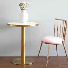北欧现代简约大理石圆桌轻奢铁艺温莎椅餐厅咖啡店餐桌家用餐桌椅