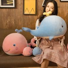 可愛軟體鯨魚公仔毛絨玩具抓機娃娃剪刀機玩偶批發送女朋生日禮物