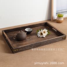 烧桐木质茶盘套装实木干果托盘竹制茶水盘茶具复古实木托盘七件套