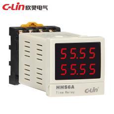 欣灵HHS6A时间继电器 延时99990H时基可调 智能双排双色显示