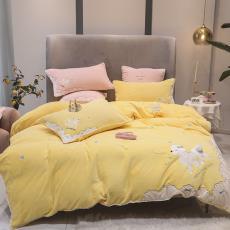 可爱刺绣狗狗牛奶绒四件套冬季保暖家用加厚珊瑚绒被套床上四件套