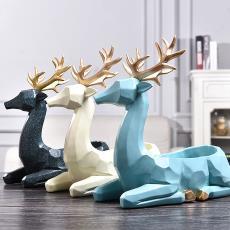 北欧风格招财鹿摆件家居装饰品玄关钥匙收纳盒客厅电视柜摆设批发
