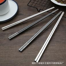 中空 日韓鈦黑金筷子23.5cm 廠家批發 304不銹鋼筷子 方形 防滑