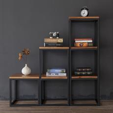 陳列書柜辦公室收納架客廳裝飾鐵架定做 美式鄉村鐵藝實木花架