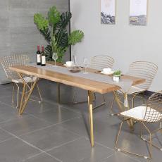 家用實木餐桌辦公桌 咖啡廳餐廳休閑餐桌椅組合 創意鐵藝金色桌子