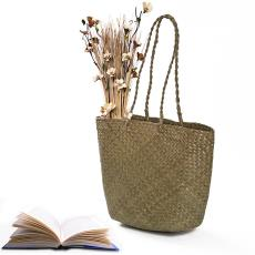 出口外贸爆款工艺包时尚手提沙滩包厂家批发 086长提纯手工草编包