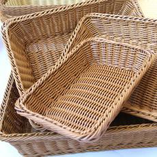 A1744藤編面包籃子食品籃水果籃干果盤長方形水果籃
