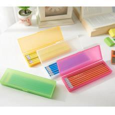熱銷大號筆盒學生文具盒 磨砂卡通PP塑料盒可印logo 連體式鉛筆盒
