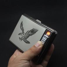 顶好新款金属20支装烟盒带USB充电点烟器创意个性防风打火机烟盒