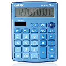 【多功能】得力1518太陽能雙重電源12位按鍵大屏幕辦公桌面計算器