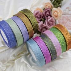 彩色綢帶金銀蔥帶織帶糖盒蛋糕禮品包裝花束包裝絲帶彩帶2cm寬度