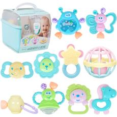 新生儿宝宝早教益智牙胶玩具0-3-6-12个月 收纳盒婴儿手摇铃0-1岁