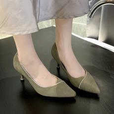 芥末绿高跟鞋女2019秋季新款韩版百搭绒面女鞋水钻尖头鞋细跟单鞋