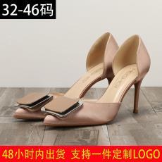 金屬方扣綢緞尖頭細跟中空高跟鞋性感淺口單鞋大碼外貿女鞋