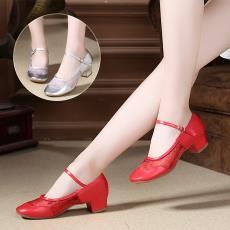 2018夏季新款舞蹈鞋女士現代廣場舞鞋搭扣網紗跳舞鞋軟底廠家批發