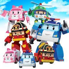 廠家直銷韓國珀利警車POLI消防車吊車手動變形機器人兒童玩具批發