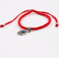 民族风手工编织礼品批 速卖通爆款法蒂玛之手手掌红绳子编织手链