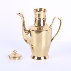 佛堂供具黃銅工藝金屬酒壺 鴻福銅器復古婚慶用品擺件
