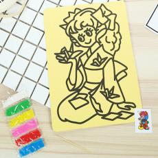 手工粘貼畫彩沙DIY益智玩 優質特大黃底沙畫套裝兒童沙畫套裝禮物