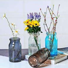 新款花瓶歐式彩色花瓶玻璃太陽玻璃瓶水培花瓶插花器家居擺件