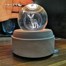 圣誕節禮物新款旋轉水晶球音樂盒現貨定制裝飾擺件工藝品水晶球廠
