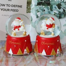 圣誕節禮物圣誕老人玻璃水晶球自動飄雪生日音樂盒兒童房飾品擺件